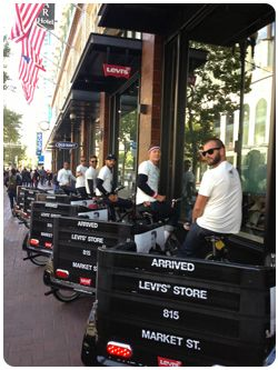 San Francisco pedicabs free rides promotion at Levi's Store, Market St, San Francisco